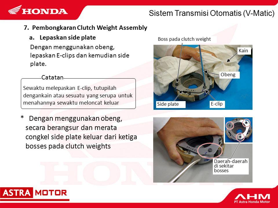 Sistem Transmisi Otomatis (V-Matic) Dengan menggunakan obeng, lepaskan E-clips dan kemudian side plate.