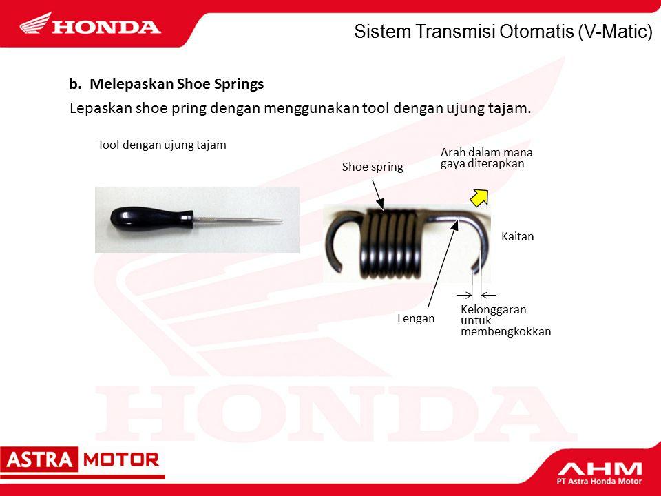 Sistem Transmisi Otomatis (V-Matic) Lepaskan shoe pring dengan menggunakan tool dengan ujung tajam.