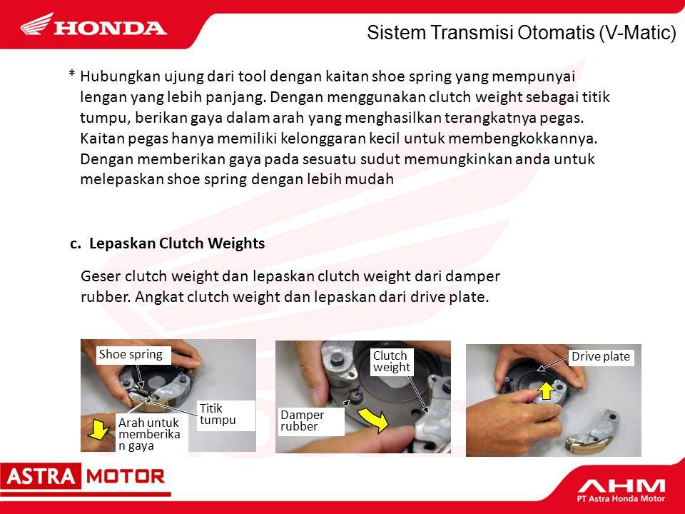 Sistem Transmisi Otomatis (V-Matic) Geser clutch weight dan lepaskan clutch weight dari damper rubber.