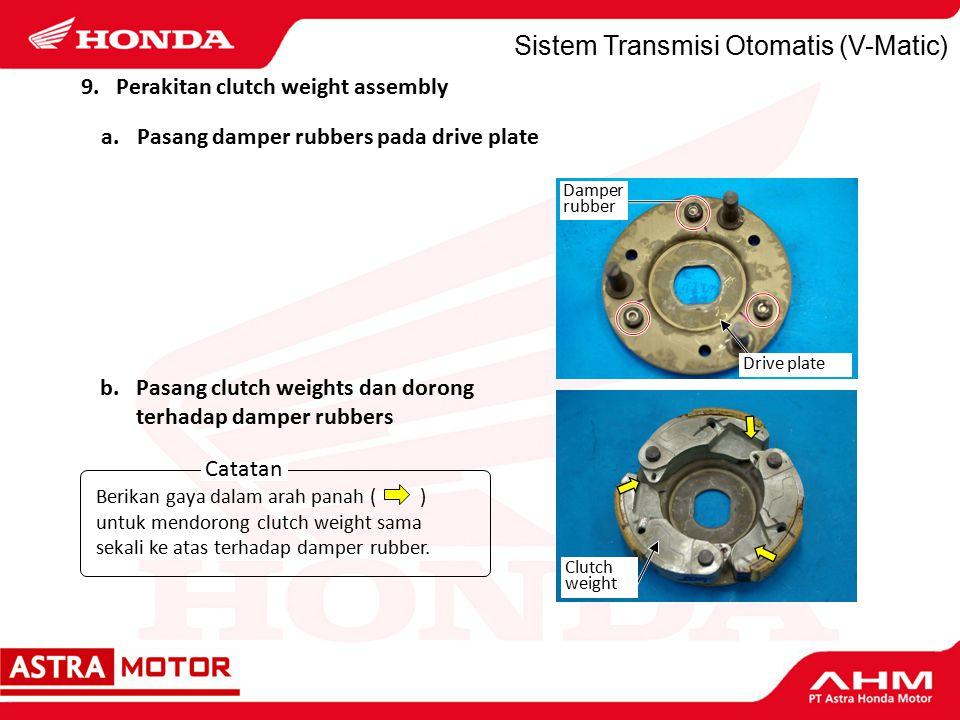Sistem Transmisi Otomatis (V-Matic) Catatan Berikan gaya dalam arah panah ( ) untuk mendorong clutch weight sama sekali ke atas terhadap damper rubber.