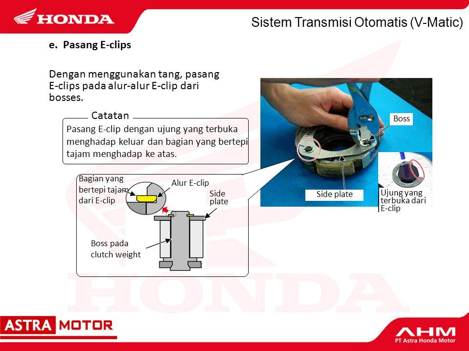 Sistem Transmisi Otomatis (V-Matic) Dengan menggunakan tang, pasang E-clips pada alur-alur E-clip dari bosses.