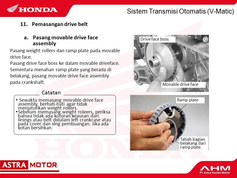 Sistem Transmisi Otomatis (V-Matic) Pasang weight rollers dan ramp plate pada movable drive face.