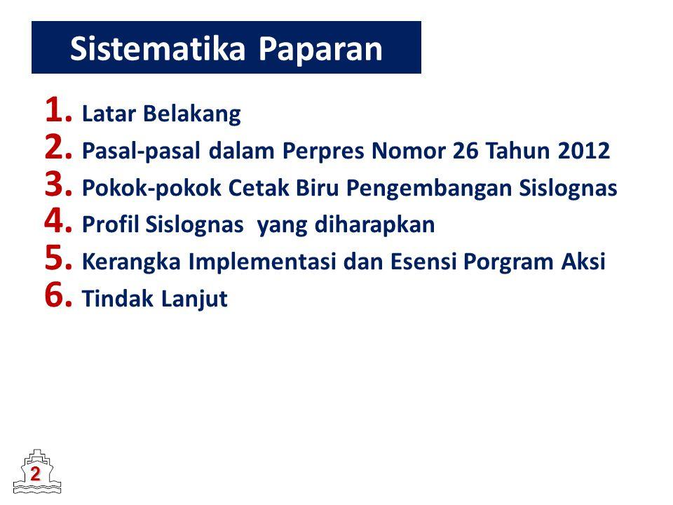 Sistematika Paparan 1. Latar Belakang 2. Pasal-pasal dalam Perpres Nomor 26 Tahun 2012 3. Pokok-pokok Cetak Biru Pengembangan Sislognas 4. Profil Sisl