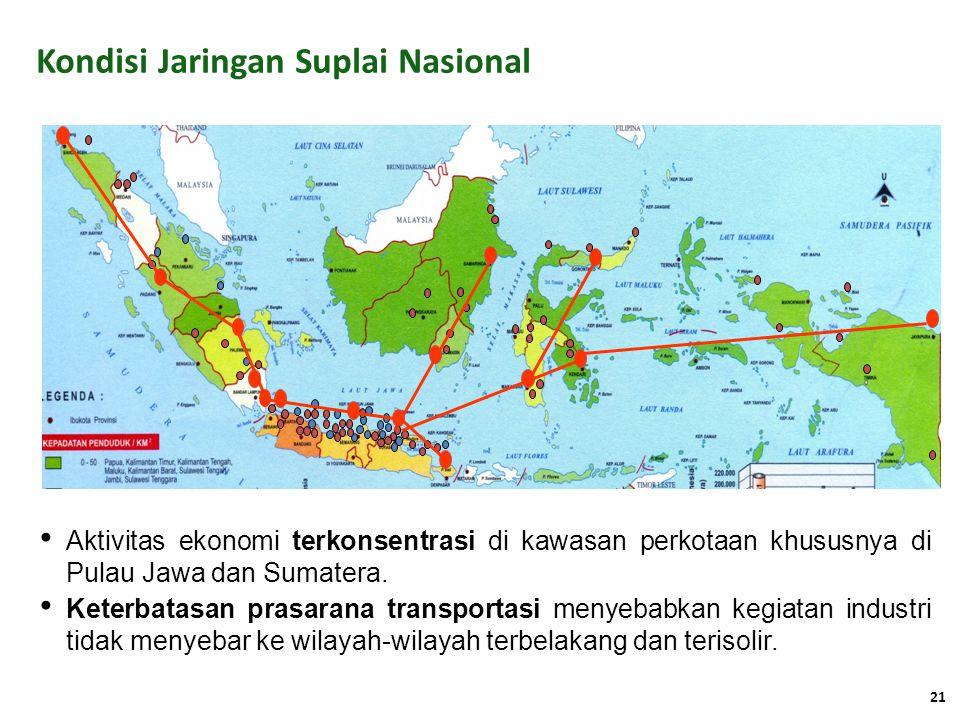 Kondisi Jaringan Suplai Nasional Aktivitas ekonomi terkonsentrasi di kawasan perkotaan khususnya di Pulau Jawa dan Sumatera. Keterbatasan prasarana tr