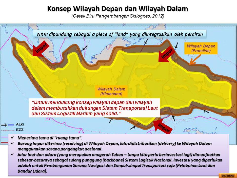 """Wilayah Depan (Frontline) Wilayah Dalam (Hinterland) NKRI dipandang sebagai a piece of """"land"""" yang diintegrasikan oleh perairan impor impor impor Mene"""