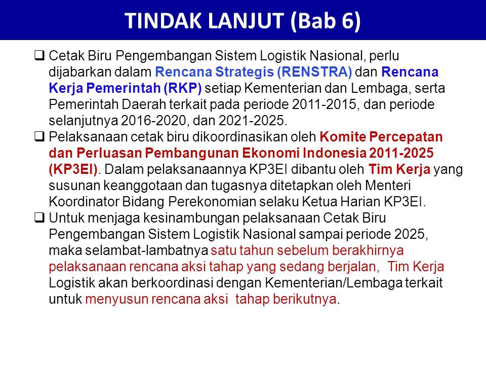 TINDAK LANJUT (Bab 6)  Cetak Biru Pengembangan Sistem Logistik Nasional, perlu dijabarkan dalam Rencana Strategis (RENSTRA) dan Rencana Kerja Pemerin