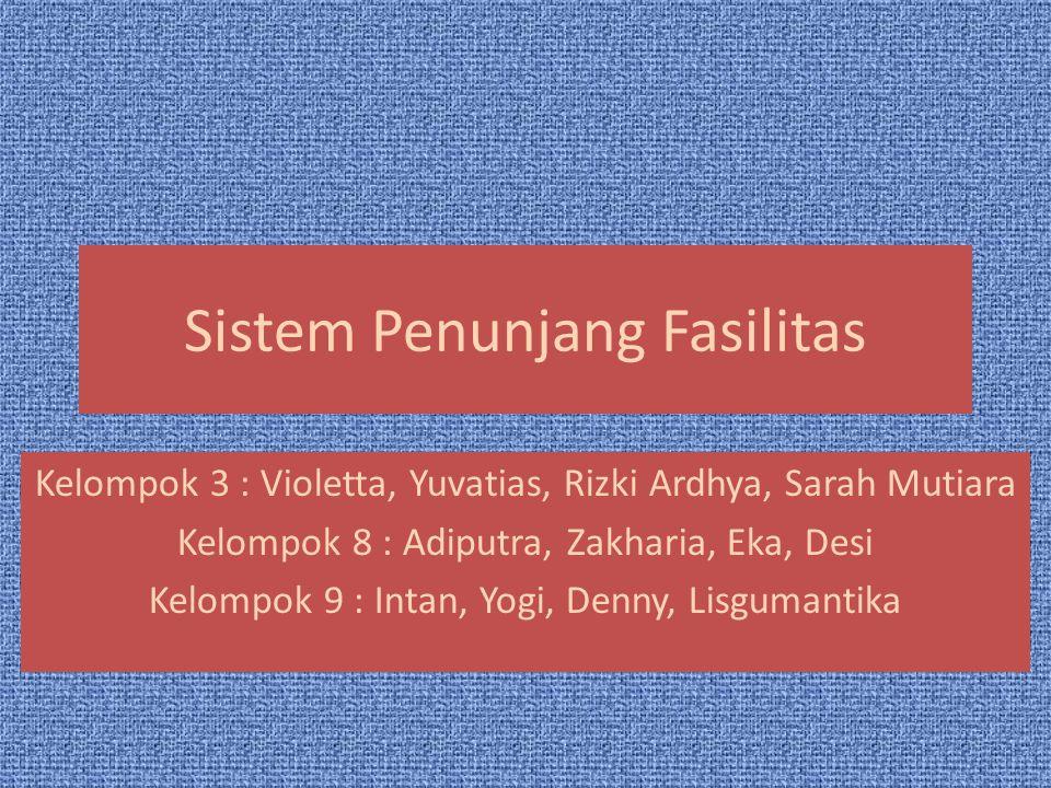 Sistem Penunjang Fasilitas Kelompok 3 : Violetta, Yuvatias, Rizki Ardhya, Sarah Mutiara Kelompok 8 : Adiputra, Zakharia, Eka, Desi Kelompok 9 : Intan,