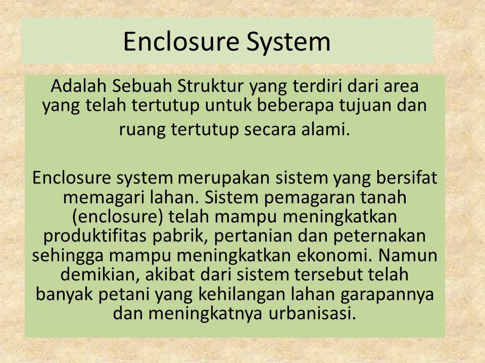 Enclosure System Adalah Sebuah Struktur yang terdiri dari area yang telah tertutup untuk beberapa tujuan dan ruang tertutup secara alami. Enclosure sy