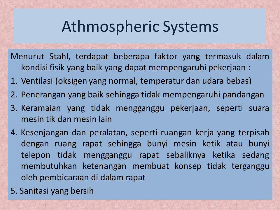 Athmospheric Systems Lingkungan dan suasana kerja termasuk kedalam iklim kerja dimana, iklim kerja ini dapat diartikan menjadi 3 yaitu : 1.
