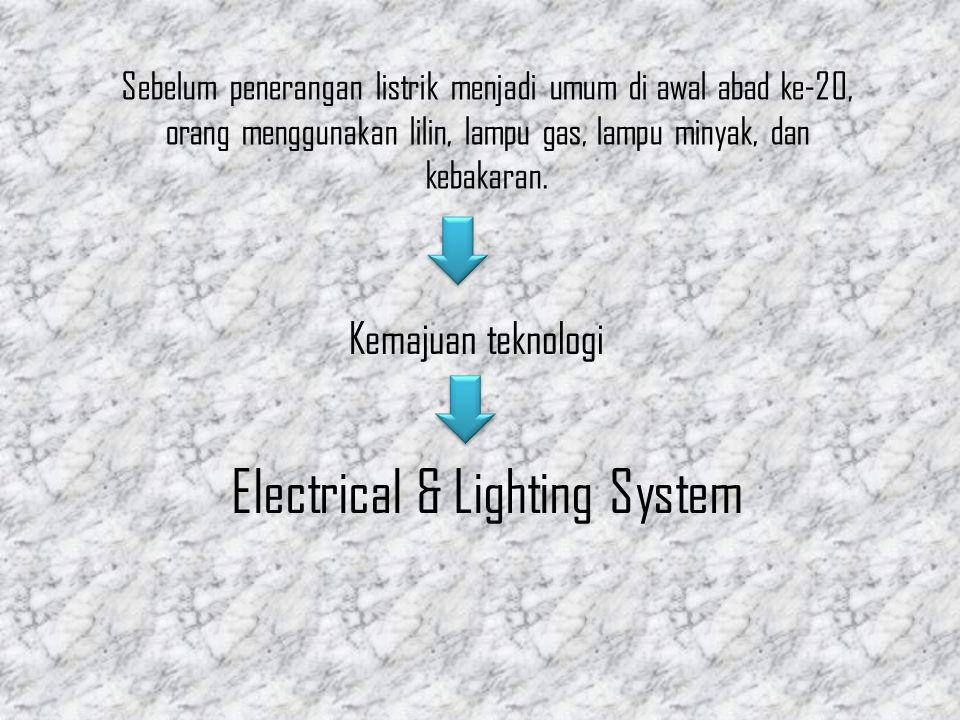 Sebelum penerangan listrik menjadi umum di awal abad ke-20, orang menggunakan lilin, lampu gas, lampu minyak, dan kebakaran. Kemajuan teknologi Electr