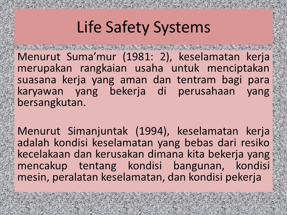 Life Safety Systems Menurut Suma'mur (1981: 2), keselamatan kerja merupakan rangkaian usaha untuk menciptakan suasana kerja yang aman dan tentram bagi