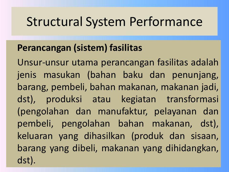 Structural System Performance Perancangan tata letak fasilitas produksi Tata letak fasilitas : kumpulan unsur-unsur fisik yang diatur mengikuti aturan atau logika tertentu yang lebih fokus pada pengaturan unsur-unsur fisik (mesin, peralatan, meja, bangunan, dsb).