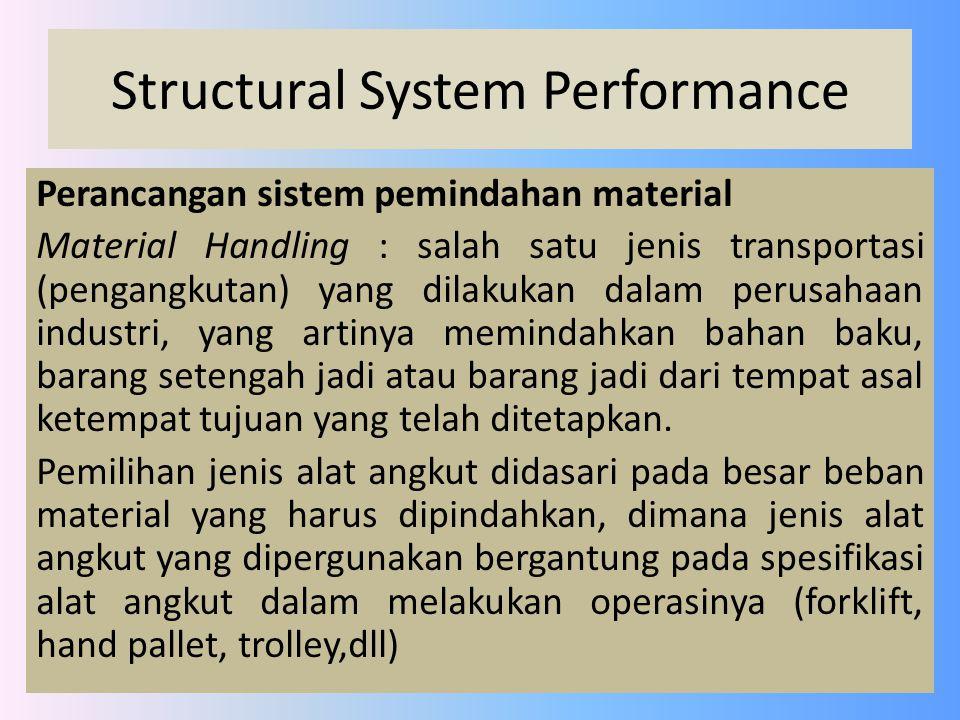 Structural System Performance Perancangan sistem pemindahan material Material Handling : salah satu jenis transportasi (pengangkutan) yang dilakukan d