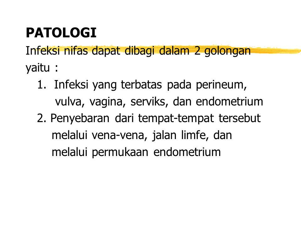 PATOLOGI Infeksi nifas dapat dibagi dalam 2 golongan yaitu : 1. Infeksi yang terbatas pada perineum, vulva, vagina, serviks, dan endometrium 2. Penyeb