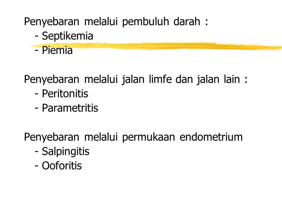 Penyebaran melalui pembuluh darah : - Septikemia - Piemia Penyebaran melalui jalan limfe dan jalan lain : - Peritonitis - Parametritis Penyebaran melalui permukaan endometrium - Salpingitis - Ooforitis