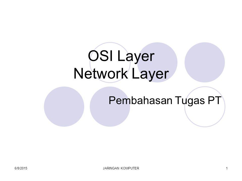 6/8/2015JARINGAN KOMPUTER1 OSI Layer Network Layer Pembahasan Tugas PT