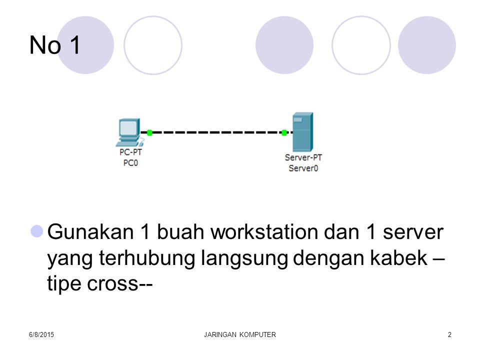 No 1 Gunakan 1 buah workstation dan 1 server yang terhubung langsung dengan kabek – tipe cross-- 6/8/2015JARINGAN KOMPUTER2