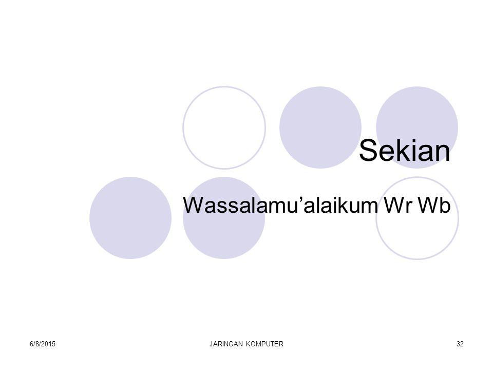 6/8/2015JARINGAN KOMPUTER32 Sekian Wassalamu'alaikum Wr Wb