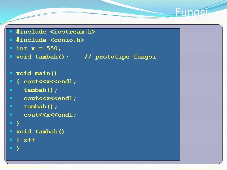 Pemrograman Berorientasi Objek Rachmansyah, S.Kom Fungsi #include int x = 550; void tambah(); // prototipe fungsi void main() { cout<<x<<endl; tambah(); cout<<x<<endl; tambah(); cout<<x<<endl; } void tambah() { x++ }