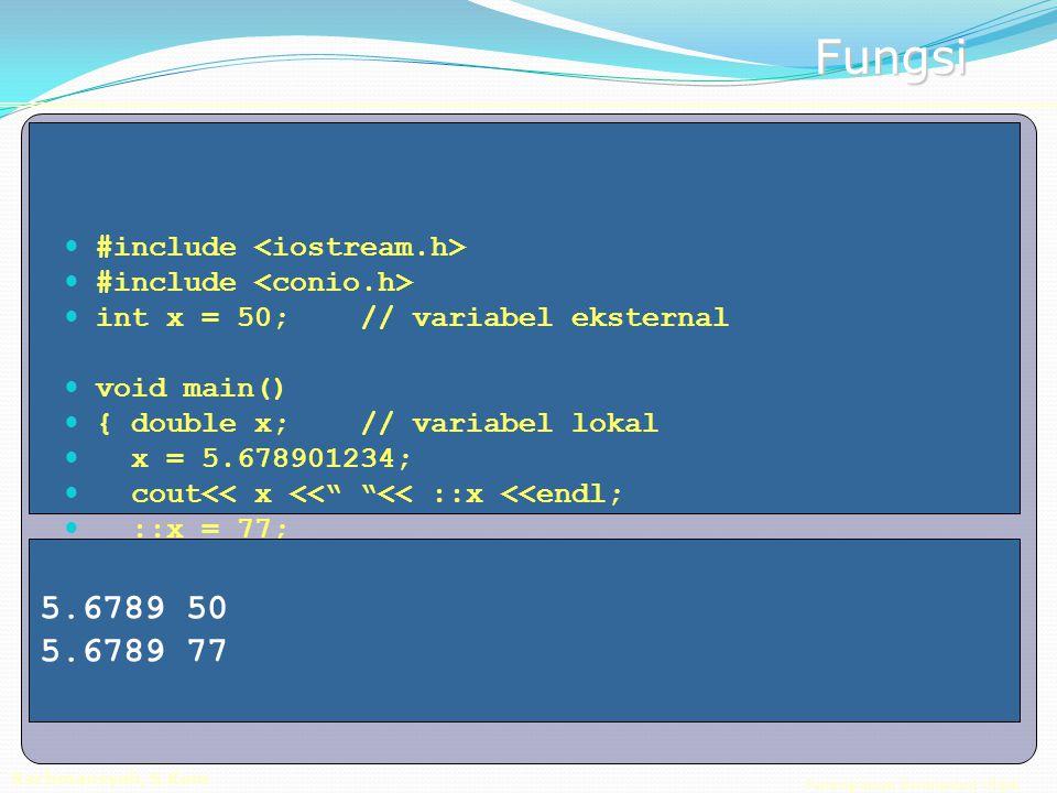 Pemrograman Berorientasi Objek Rachmansyah, S.Kom Fungsi #include int x = 50; // variabel eksternal void main() { double x; // variabel lokal x = 5.678901234; cout<< x << << ::x <<endl; ::x = 77; cout<< x << << ::x <<endl; } 5.6789 50 5.6789 77