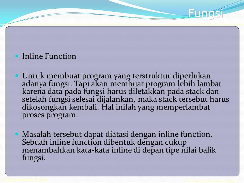 Pemrograman Berorientasi Objek Rachmansyah, S.Kom Fungsi Inline Function Untuk membuat program yang terstruktur diperlukan adanya fungsi.