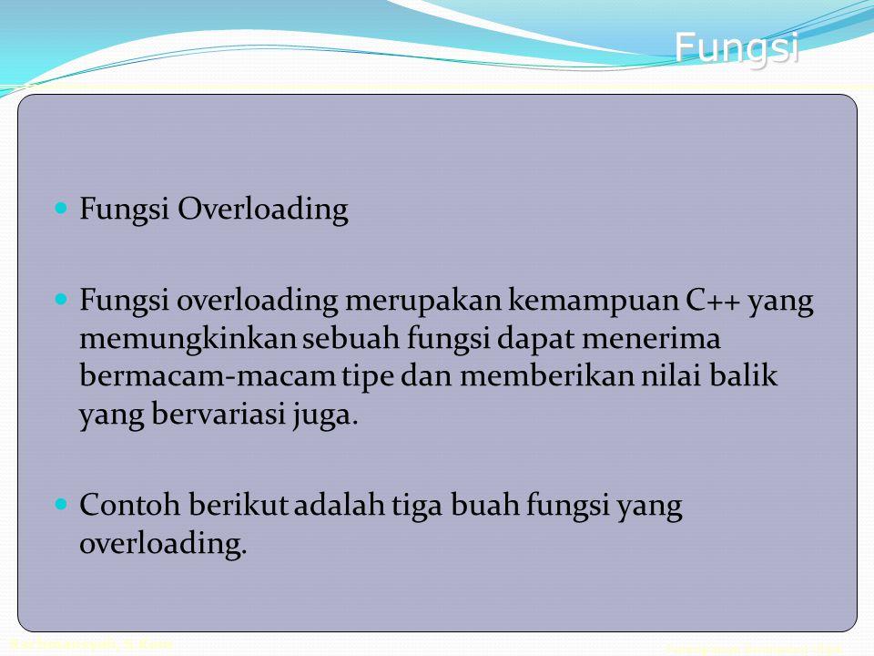 Pemrograman Berorientasi Objek Rachmansyah, S.Kom Fungsi Fungsi Overloading Fungsi overloading merupakan kemampuan C++ yang memungkinkan sebuah fungsi dapat menerima bermacam-macam tipe dan memberikan nilai balik yang bervariasi juga.