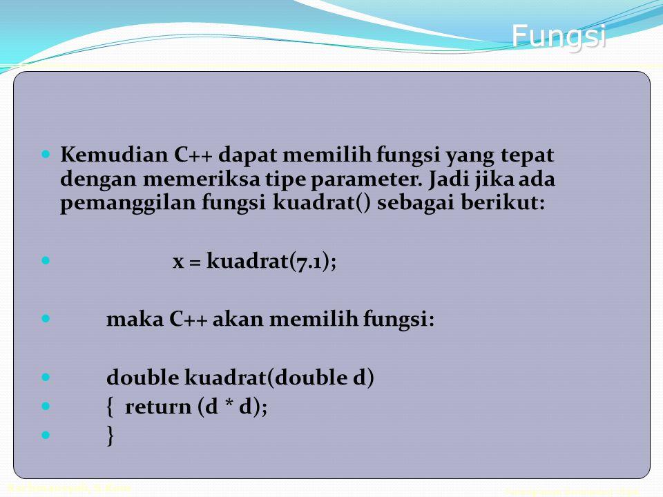Pemrograman Berorientasi Objek Rachmansyah, S.Kom Fungsi Kemudian C++ dapat memilih fungsi yang tepat dengan memeriksa tipe parameter.