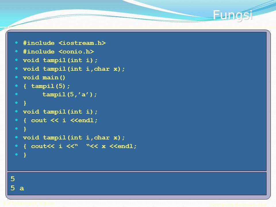Pemrograman Berorientasi Objek Rachmansyah, S.Kom Fungsi #include void tampil(int i); void tampil(int i,char x); void main() { tampil(5); tampil(5,'a'); } void tampil(int i); { cout << i <<endl; } void tampil(int i,char x); { cout<< i << << x <<endl; } 5 5 a