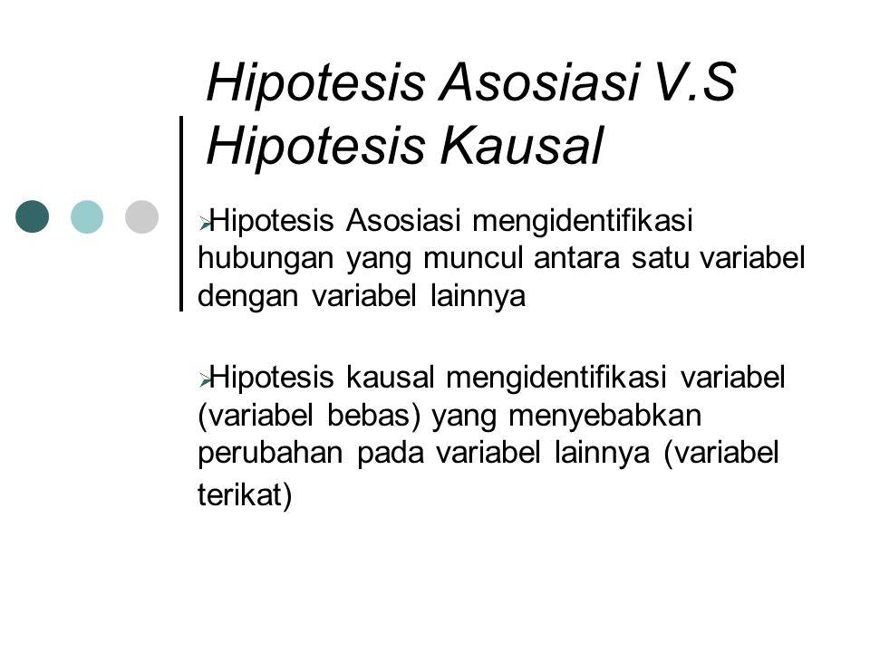 Hipotesis Asosiasi V.S Hipotesis Kausal  Hipotesis Asosiasi mengidentifikasi hubungan yang muncul antara satu variabel dengan variabel lainnya  Hipo