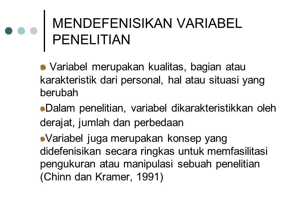 MENDEFENISIKAN VARIABEL PENELITIAN Variabel merupakan kualitas, bagian atau karakteristik dari personal, hal atau situasi yang berubah Dalam penelitia