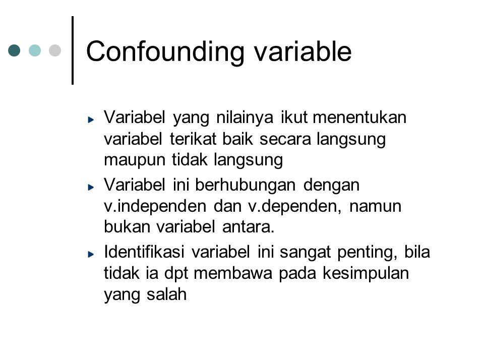 Confounding variable Variabel yang nilainya ikut menentukan variabel terikat baik secara langsung maupun tidak langsung Variabel ini berhubungan dengan v.independen dan v.dependen, namun bukan variabel antara.