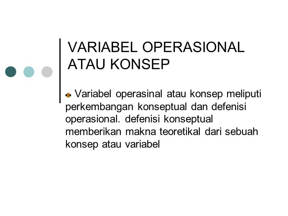 VARIABEL OPERASIONAL ATAU KONSEP Variabel operasinal atau konsep meliputi perkembangan konseptual dan defenisi operasional.