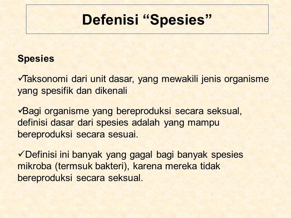 Defenisi Spesies Spesies Taksonomi dari unit dasar, yang mewakili jenis organisme yang spesifik dan dikenali Bagi organisme yang bereproduksi secara seksual, definisi dasar dari spesies adalah yang mampu bereproduksi secara sesuai.