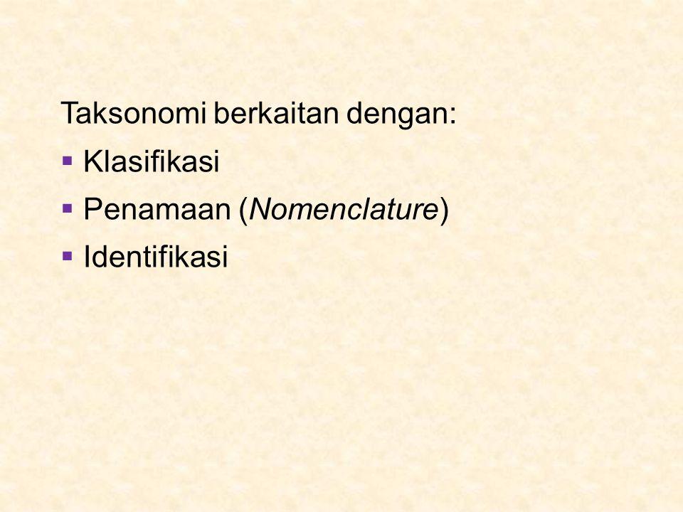 Taksonomi berkaitan dengan:  Klasifikasi  Penamaan (Nomenclature)  Identifikasi
