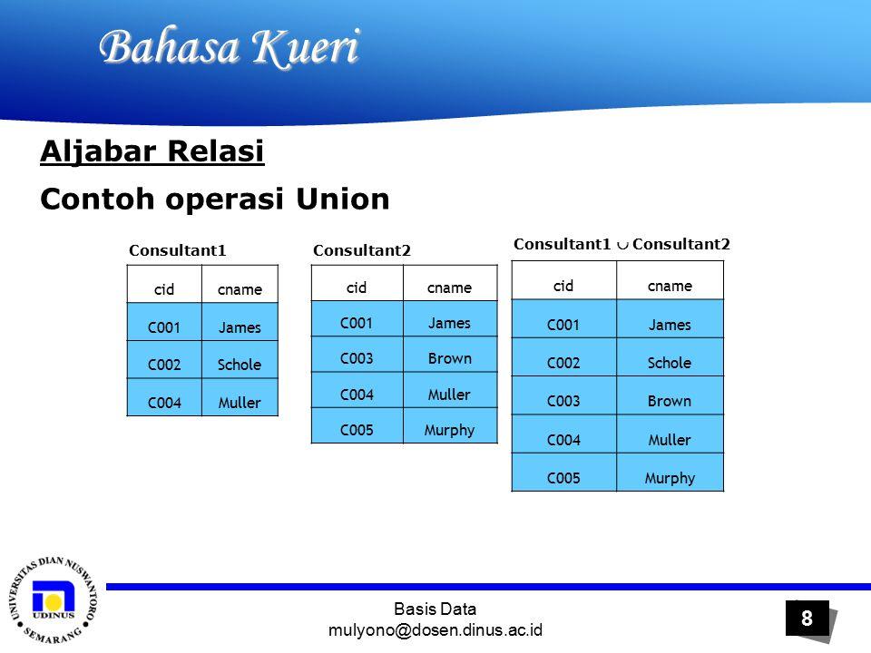 Basis Data mulyono@dosen.dinus.ac.id 9 Bahasa Kueri Bahasa Kueri Aljabar Relasi 2.