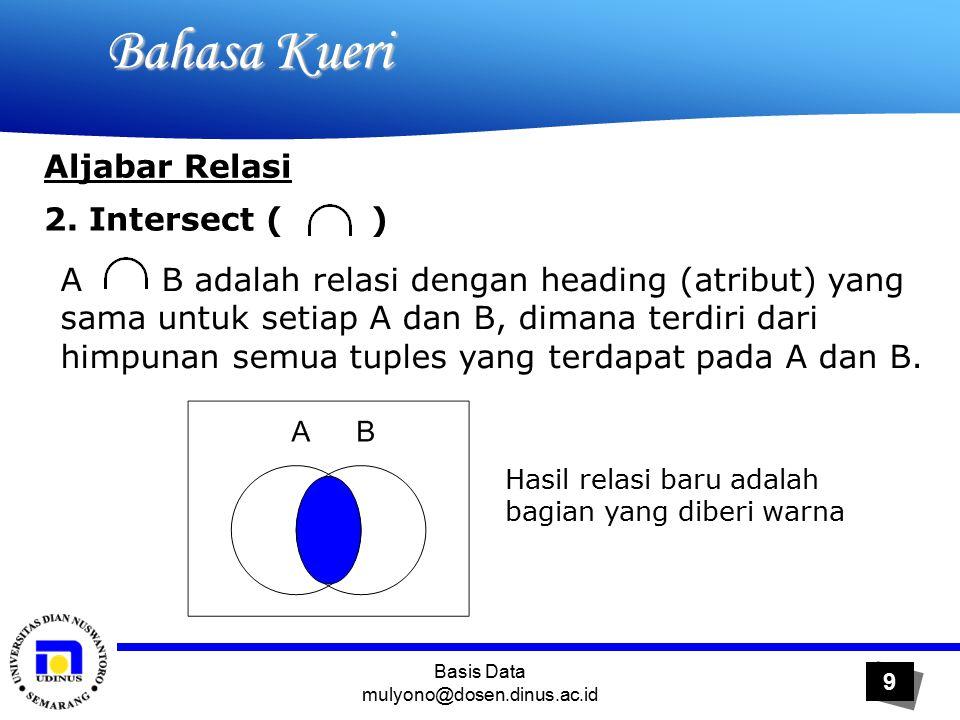 Basis Data mulyono@dosen.dinus.ac.id 20 Bahasa Kueri Bahasa Kueri Aljabar Relasi 6.