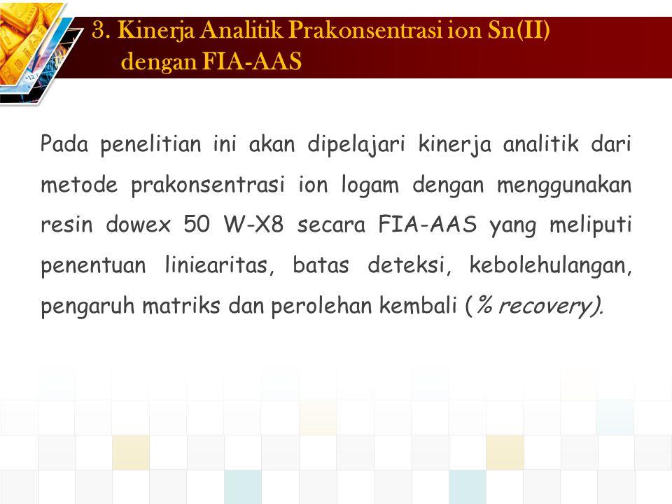 3. Kinerja Analitik Prakonsentrasi ion Sn(II) dengan FIA-AAS Pada penelitian ini akan dipelajari kinerja analitik dari metode prakonsentrasi ion logam