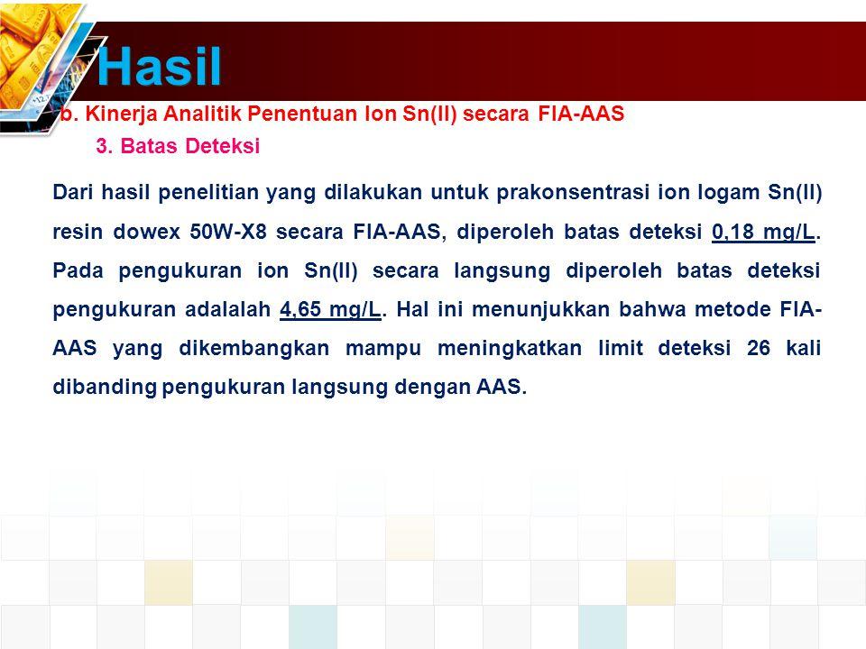 Hasil b.Kinerja Analitik Penentuan Ion Sn(II) secara FIA-AAS 3.