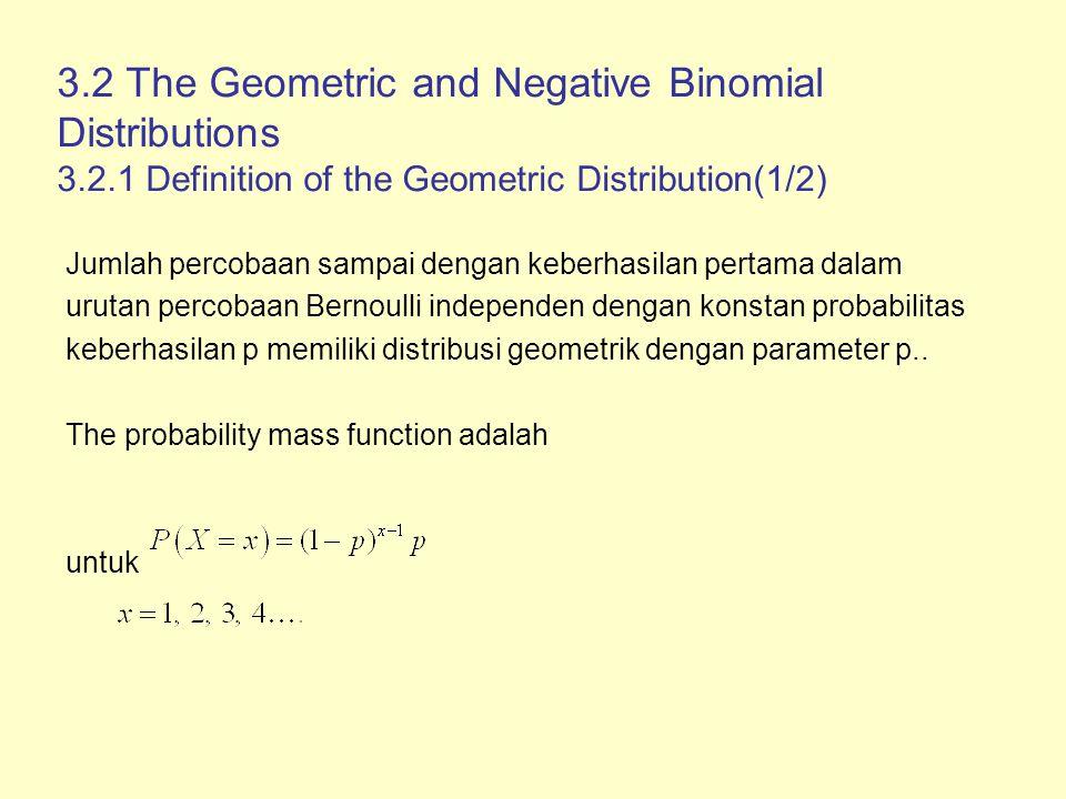 3.2.1 Definition of the Geometric Distribution(2/2) Cumulative distribution function adalah Nilai harapan