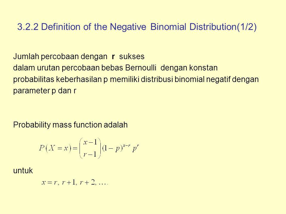 3.2.2 Definition of the Negative Binomial Distribution(2/2) Nilai harapan
