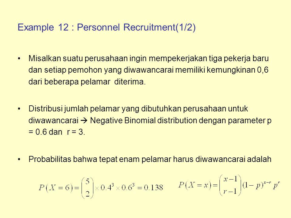 Example 12 : Personnel Recruitment(2/2) Jika perusahaan memiliki anggaran yang memungkinkan hingga enam pelamar untuk diwawancarai, maka probabilitas bahwa anggaran cukup adalah Nilai harapan dari wawancara yang diperlukan adalah
