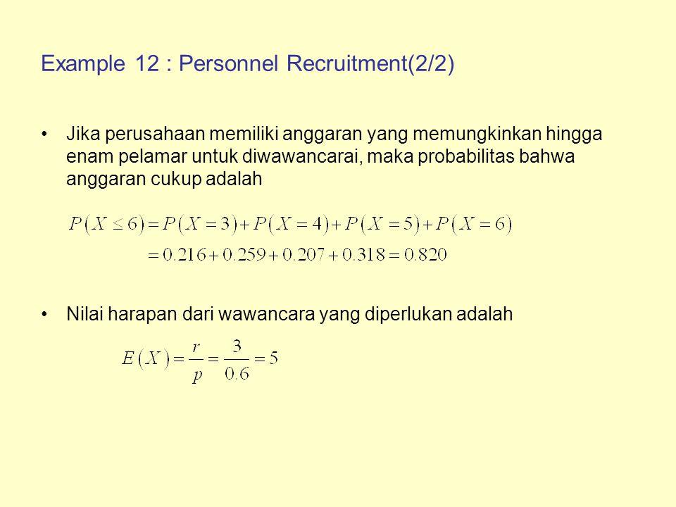 Example 12 : Personnel Recruitment(2/2) Jika perusahaan memiliki anggaran yang memungkinkan hingga enam pelamar untuk diwawancarai, maka probabilitas