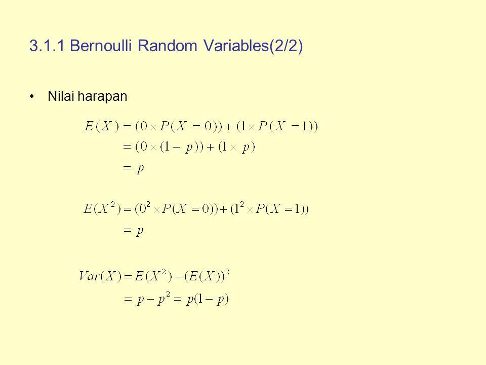 3.1.1 Bernoulli Random Variables(2/2) Nilai harapan