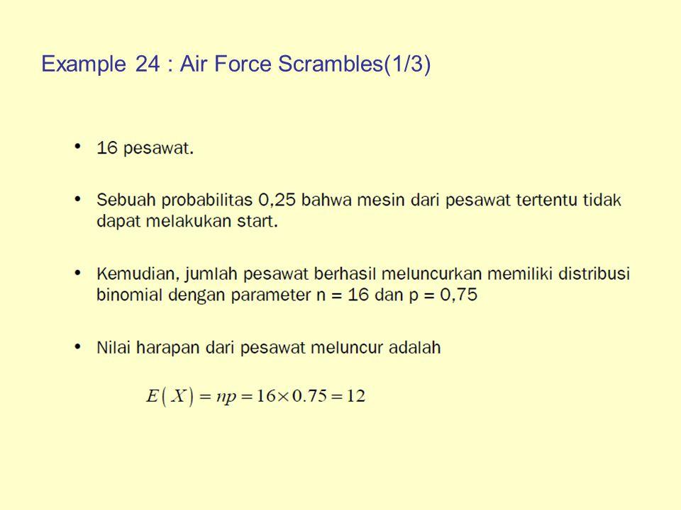 Example 24 : Air Force Scrambles(2/3) Variansinya Probabilitas tepat 12 pesawat melakukan scramble dengan sukses Probabilitas minimal paling tidak 14 pesawat melakukan scramble dengan sukses