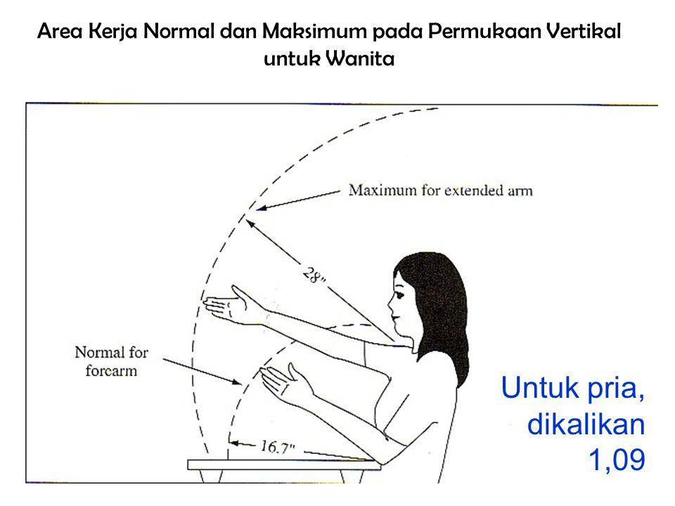 Area Kerja Normal dan Maksimum pada Permukaan Vertikal untuk Wanita Untuk pria, dikalikan 1,09