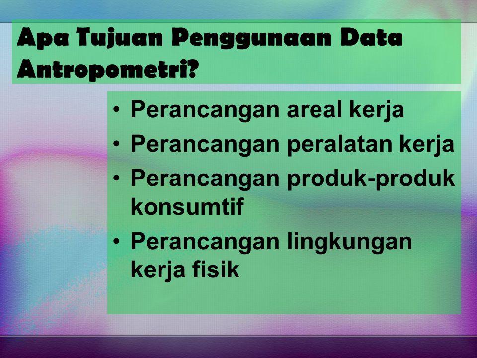 Apa Tujuan Penggunaan Data Antropometri? Perancangan areal kerja Perancangan peralatan kerja Perancangan produk-produk konsumtif Perancangan lingkunga