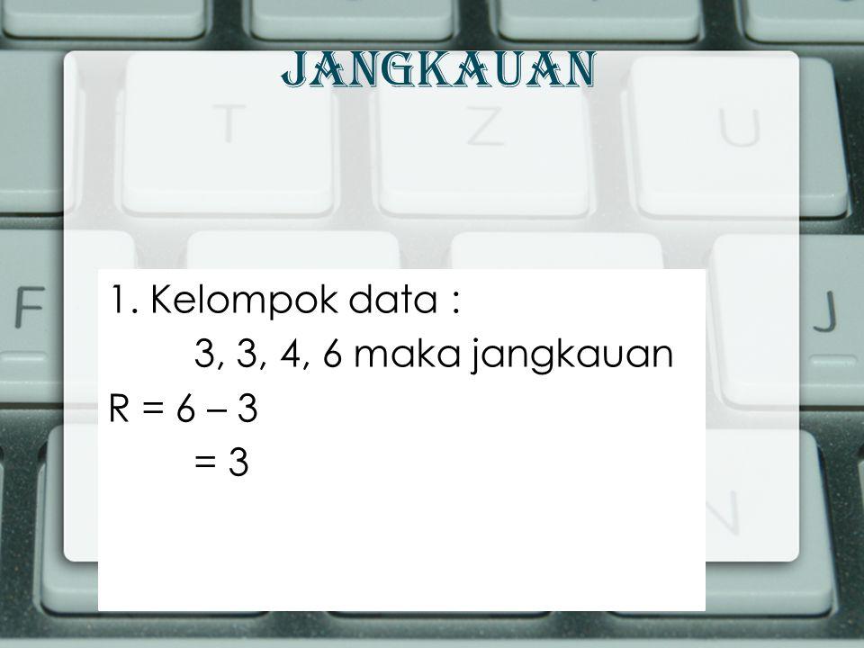 Simpangan Rata-rata 2.Tentukanlah simpangan rata-rata data : 3, 3, 4, 6 Jawab : n =....