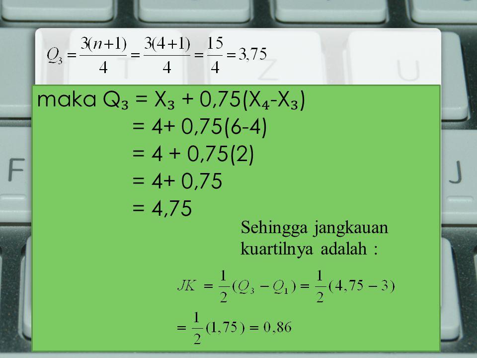 maka Q ₃ = X ₃ + 0,75(X ₄ -X ₃ ) = 4+ 0,75(6-4) = 4 + 0,75(2) = 4+ 0,75 = 4,75 Sehingga jangkauan kuartilnya adalah :