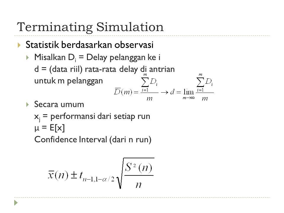 Terminating Simulation  Statistik berdasarkan observasi  Misalkan D i = Delay pelanggan ke i d = (data riil) rata-rata delay di antrian untuk m pelanggan  Secara umum x j = performansi dari setiap run μ = E[x] Confidence Interval (dari n run)