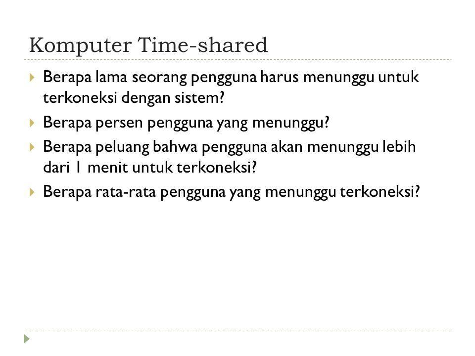 Komputer Time-shared  Berapa rata-rata waktu seorang pengguna terkoneksi dalam setiap koneksi yang dibuat.